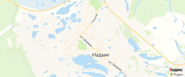 Карта Надыма с районами, улицами и номерами домов