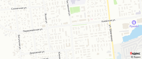Лиственная улица на карте Ноябрьска с номерами домов