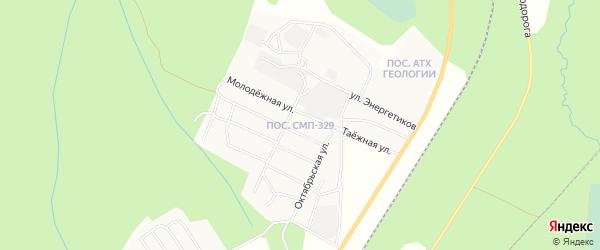 Карта поселка СМП-329 города Ноябрьска в Ямало-ненецком автономном округе с улицами и номерами домов