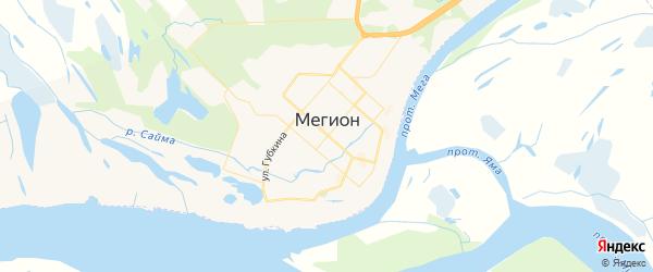 Карта Мегиона с районами, улицами и номерами домов