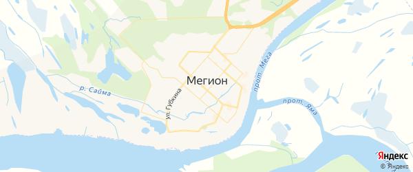 Карта Мегиона с районами, улицами и номерами домов: Мегион на карте России