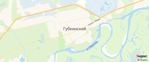 Карта Губкинского с районами, улицами и номерами домов