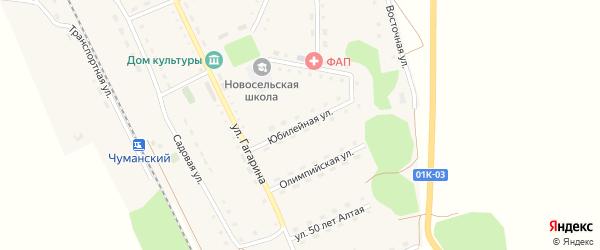 Юбилейная улица на карте Новосельского села с номерами домов