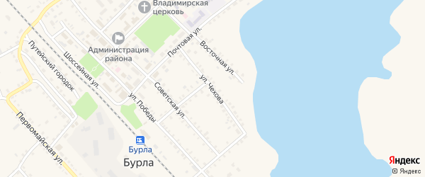 Улица Чехова на карте села Бурлы с номерами домов
