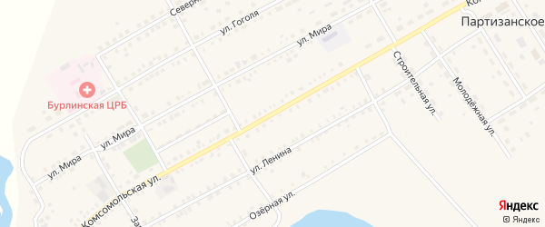 Комсомольская улица на карте села Бурлы с номерами домов