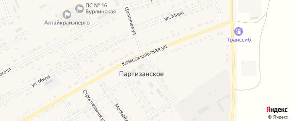 Целинная улица на карте Партизанского села с номерами домов