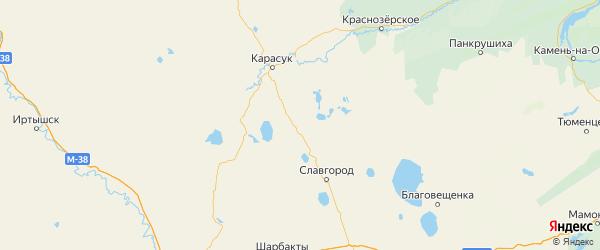 Карта Бурлинского района Алтайского края с населенными пунктами и городами
