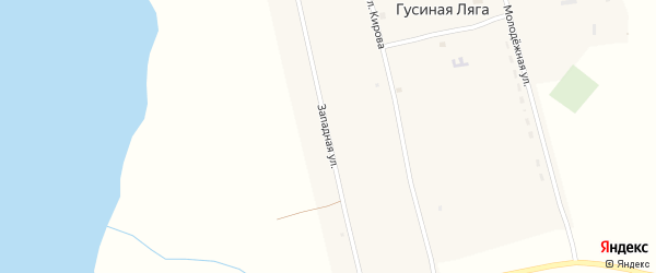 Западная улица на карте села Гусиной Ляги с номерами домов