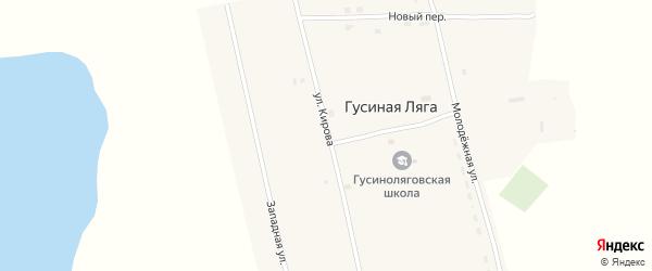 Улица Кирова на карте села Гусиной Ляги с номерами домов