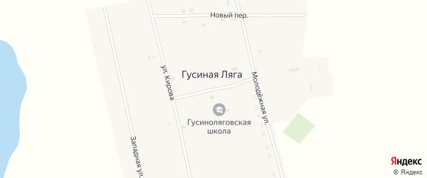 Школьный переулок на карте села Гусиной Ляги с номерами домов