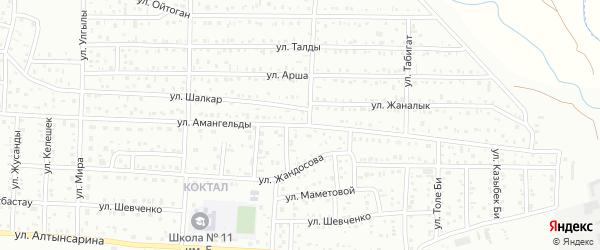 Улица Амангельды на карте поселка Тюры-Тама с номерами домов