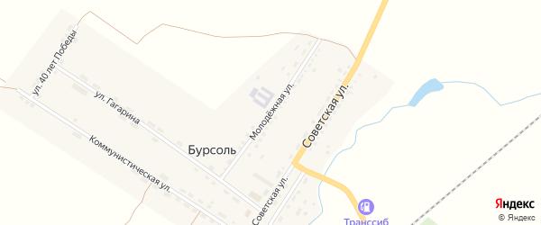 Молодежная улица на карте поселка Бурсоли с номерами домов
