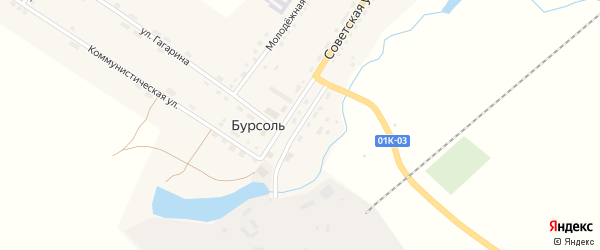 Улица Горького на карте поселка Бурсоли с номерами домов