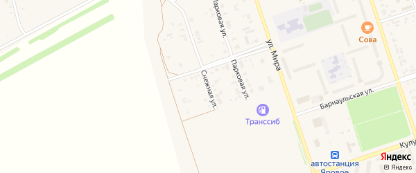 Снежная улица на карте Ярового с номерами домов