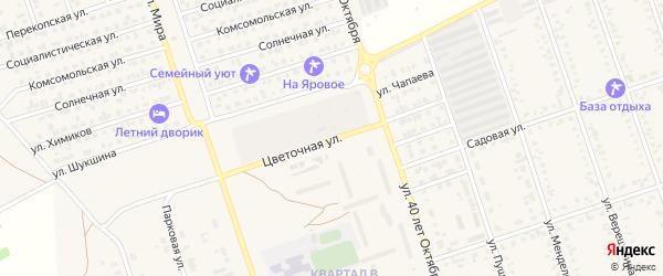 Цветочная улица на карте Ярового с номерами домов