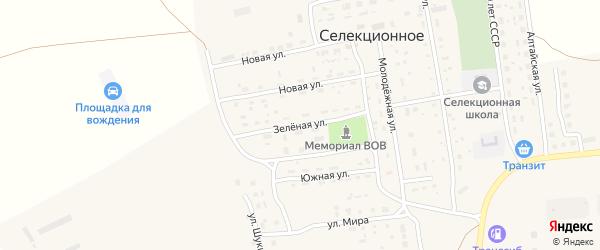 Зеленая улица на карте Селекционного села с номерами домов