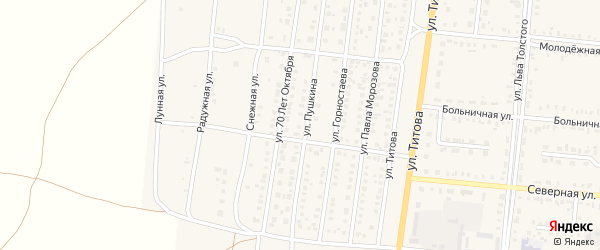 Улица П.Корчагина на карте Славгородского села с номерами домов