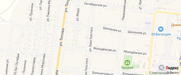 Улица Л.Толстого на карте Славгородского села с номерами домов