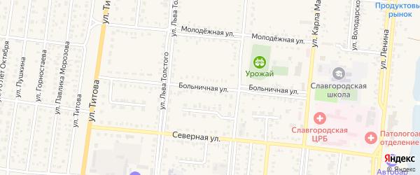 Больничная улица на карте Славгородского села с номерами домов