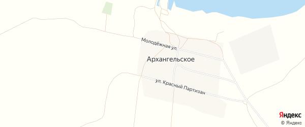 Карта Архангельского села города Славгорода в Алтайском крае с улицами и номерами домов