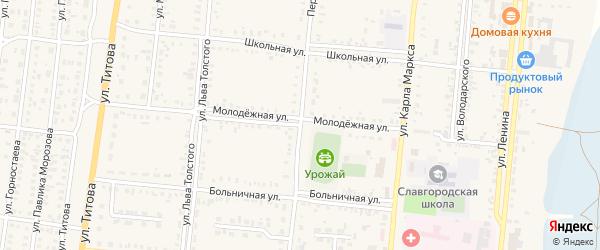 Молодежная улица на карте Славгородского села с номерами домов