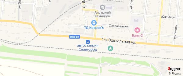 Вокзальная 1-я улица на карте Славгорода с номерами домов