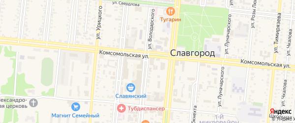 Улица Володарского на карте Славгорода с номерами домов