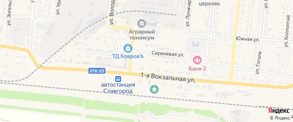 Сиреневая улица на карте Славгорода с номерами домов