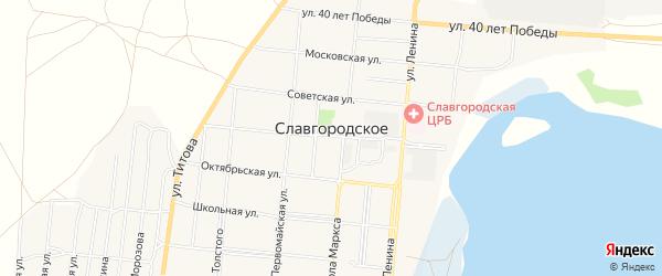 Карта Славгородского села города Славгорода в Алтайском крае с улицами и номерами домов