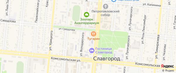 Улица Героев Советского Союза на карте Славгорода с номерами домов