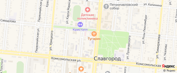 Объездное шоссе на карте Славгорода с номерами домов