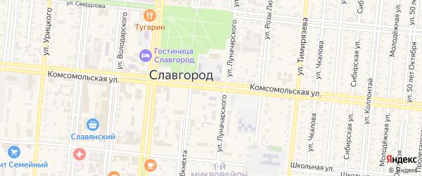 Комсомольская улица на карте Селекционного села с номерами домов