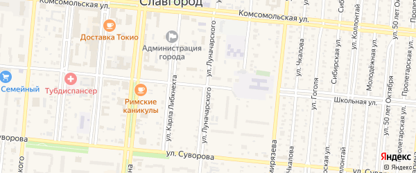 Улица Луначарского на карте Славгорода с номерами домов