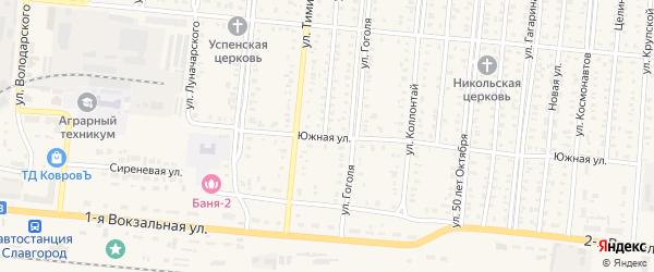 Южная улица на карте Славгорода с номерами домов