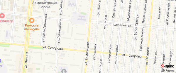 Улица Тимирязева на карте Славгорода с номерами домов