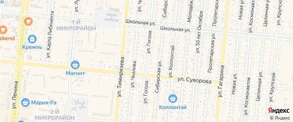 Улица Гоголя на карте Славгорода с номерами домов