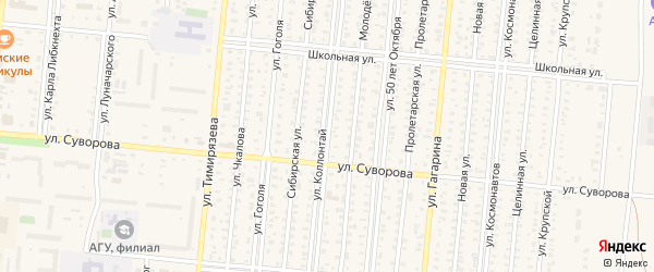 Улица Коллонтай на карте Славгорода с номерами домов