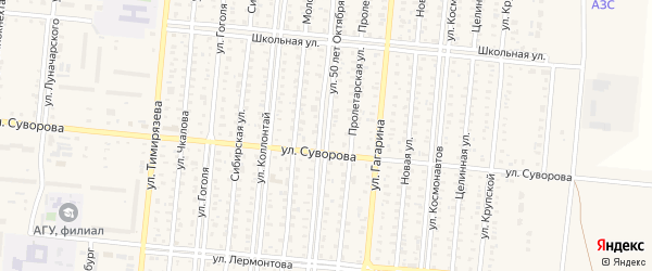 Улица 50 лет Октября на карте Славгорода с номерами домов