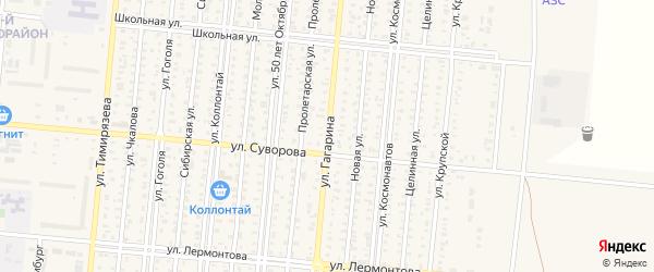 Улица Гагарина на карте Пригородного села с номерами домов