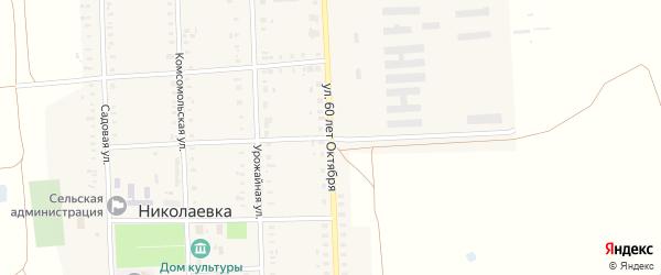 Улица 60 лет Октября на карте села Николаевки с номерами домов
