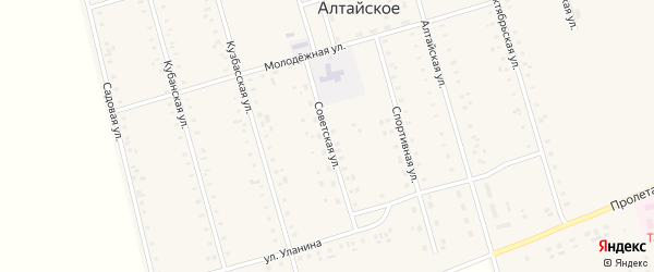 Советская улица на карте Алтайского села с номерами домов