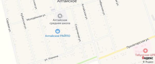 Спортивная улица на карте Алтайского села с номерами домов