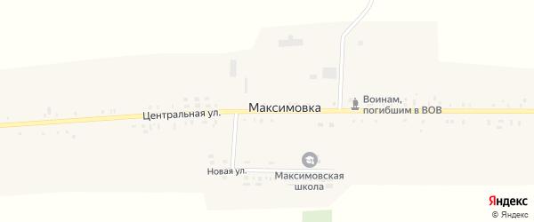 Центральная улица на карте села Максимовки с номерами домов