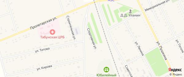 Спортивная улица на карте села Табуны с номерами домов