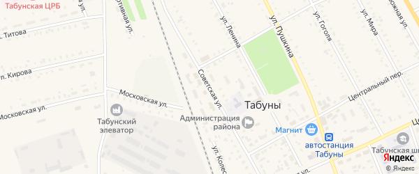 Советская улица на карте села Табуны с номерами домов