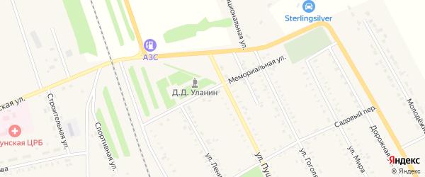 Мемориальная улица на карте села Табуны с номерами домов