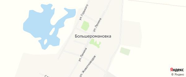 Карта села Большеромановки в Алтайском крае с улицами и номерами домов
