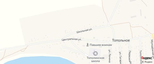 Школьная улица на карте Топольного села с номерами домов