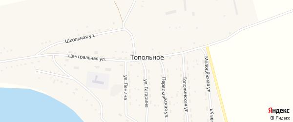 Молодежная улица на карте Топольного села с номерами домов