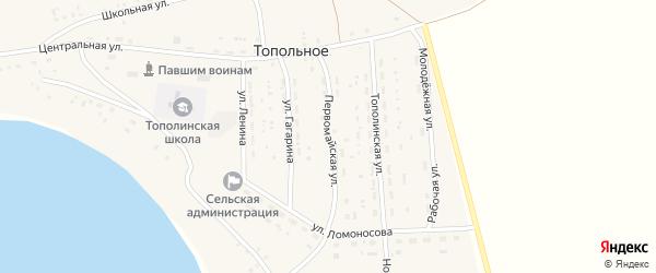 Первомайская улица на карте Топольного села с номерами домов